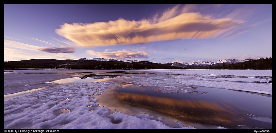 Snow-covered Twolumne Meadows and big cloud at sunset. Yosemite National Park (color)