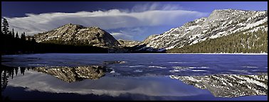 Mountains reflected in partly iced Tenaya Lake. Yosemite National Park (Panoramic color)