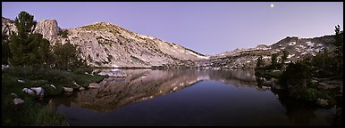 Alpine lake in cirque at dusk, Vogelsang. Yosemite National Park (Panoramic color)