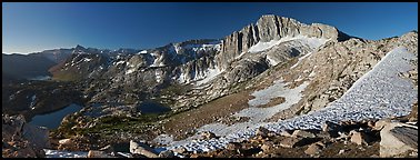 North Peak and Twenty Lakes Basin from McCabe Pass, early morning. Yosemite National Park (Panoramic color)