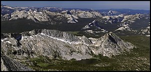 High Yosemite country from above. Yosemite National Park (Panoramic color)