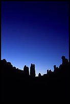 Sandstone pillars in Klondike Bluffs, dusk. Arches National Park, Utah, USA.