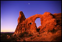 Turret Arch and moon, dawn. Arches National Park ( color)