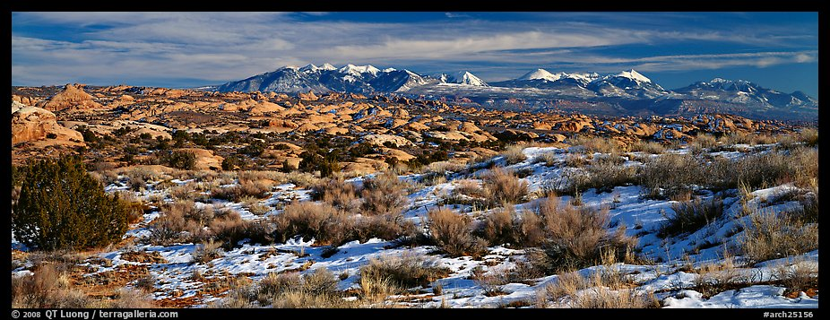 Petrified dunes and mountains in winter. Arches National Park (color)