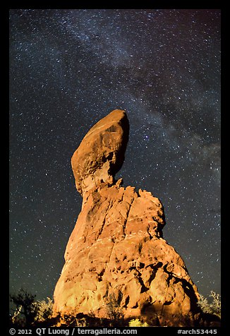 Balanced rock and Milky Way. Arches National Park, Utah, USA.