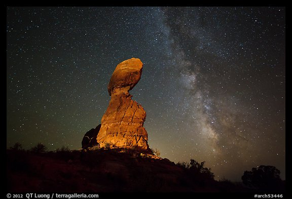 Balanced rock and stars. Arches National Park (color)
