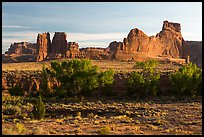 Cottonwoods of Courthouse Wash and Courthouse Towers. Arches National Park ( color)