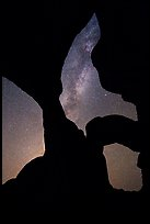 Double Arch with stars and Milky Way. Arches National Park, Utah, USA.