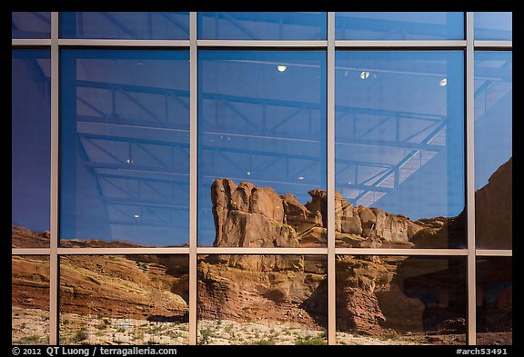Cliffs, Visitor Center window reflexion. Arches National Park (color)