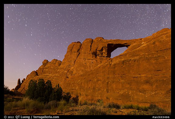Moonlit Skyline Arch. Arches National Park, Utah, USA.