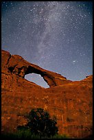 Skyline Arch and Milky Way. Arches National Park, Utah, USA.