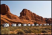 RVs parked at Devils Garden trailhead. Arches National Park, Utah, USA. (color)
