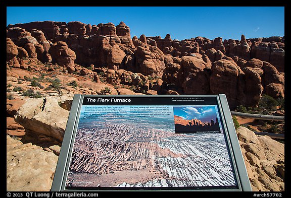 Interpretive sign, Fiery Furnace. Arches National Park (color)