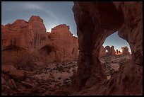 Cove of Arches and Cove Arch at night. Arches National Park ( color)