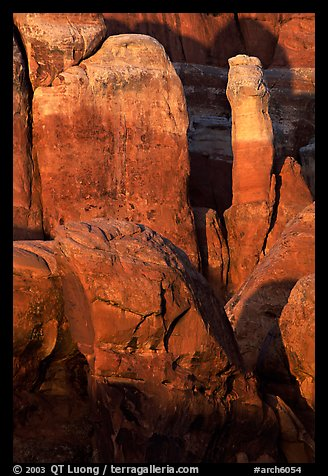 Fiery Furnace rock formations at sunset. Arches National Park (color)