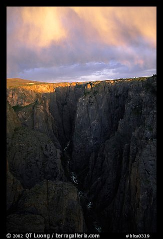 Narrows seen from Chasm view at sunset, North rim. Black Canyon of the Gunnison National Park (color)