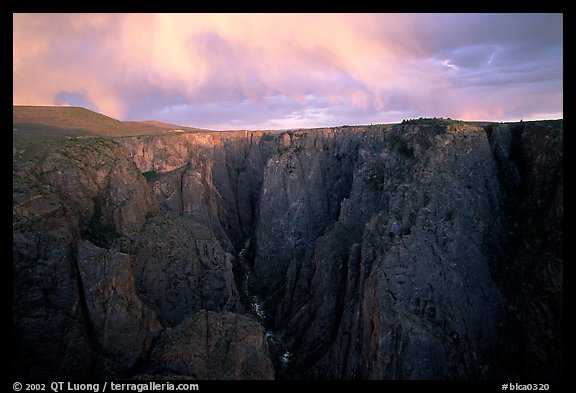 Narrows from Chasm view at sunset, North Rim. Black Canyon of the Gunnison National Park (color)