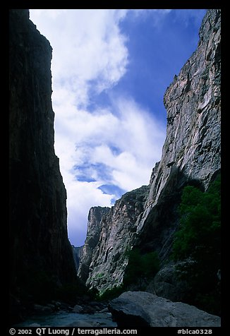 View of canyon walls from  Gunisson river. Black Canyon of the Gunnison National Park, Colorado, USA.