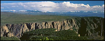 Plateau cut by deep canyon. Black Canyon of the Gunnison National Park (Panoramic color)