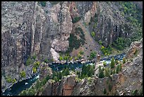 Gunnison River in autumn from above. Black Canyon of the Gunnison National Park ( color)