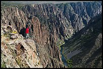 Park visitor looking, Pulpit rock overlook. Black Canyon of the Gunnison National Park ( color)