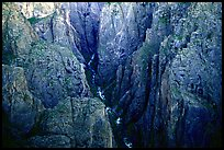 Deep and narrow gorge seen from Chasm view. Black Canyon of the Gunnison National Park, Colorado, USA.