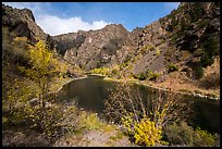 Gunnison River and cliffs at East Portal in autumn. Black Canyon of the Gunnison National Park ( color)