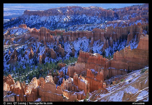 Hoodoos and blue snow from Inspiration Point. Bryce Canyon National Park, Utah, USA.
