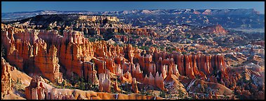 Densely aligned pinnacles in horseshoe-shaped amphitheaters along edge of Pausaugunt Plateau. Bryce Canyon National Park (Panoramic color)