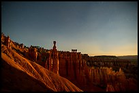 Thor Hammer and amphitheater at night. Bryce Canyon National Park ( color)