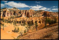 Mesa with hoodoos seen from below. Bryce Canyon National Park ( color)