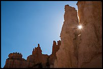 Sun shining between hoodoos. Bryce Canyon National Park ( color)