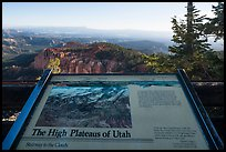 High Plateaus of Utah interpretive sign. Bryce Canyon National Park ( color)