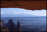 Mesa Arch, pinnacles, La Sal Mountains, early morning, Island in the sky. Canyonlands National Park, Utah, USA. (color)