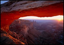 Sunrise through Mesa Arch, Island in the Sky. Canyonlands National Park ( color)