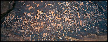 Petroglyphs on rock slab, Needles District. Canyonlands National Park (Panoramic color)