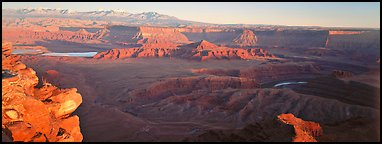 Canyon landscape at sunset, Dead Horse Point. Canyonlands National Park (Panoramic color)