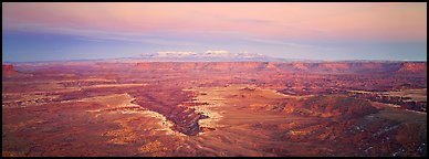 Canyon gorge and mountains in pastel colors, Island in the Sky. Canyonlands National Park (Panoramic color)