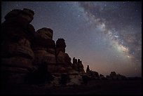 Dollhouse towers and Milky Way, Maze District. Canyonlands National Park ( color)