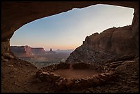 Alcove with False Kiva at sunset. Canyonlands National Park, Utah, USA. (color)