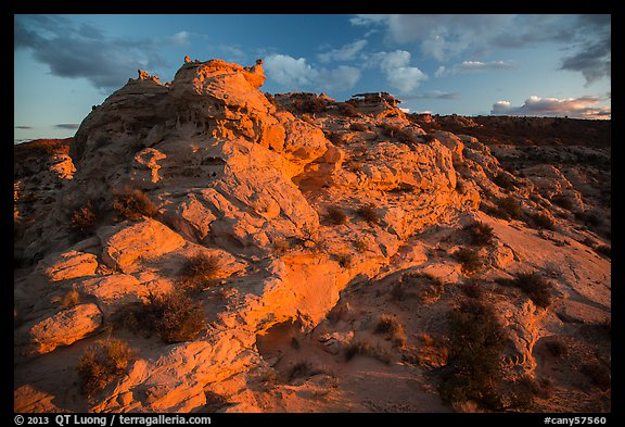Last light above High Spur slot canyon, Orange Cliffs Unit, Glen Canyon National Recreation Area, Utah. USA