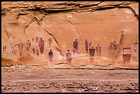 Barrier Canyon Style rock art, the Great Gallery,  Horseshoe Canyon. Canyonlands National Park ( color)
