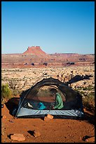 Camp overlooking the Maze. Canyonlands National Park, Utah, USA. (color)