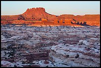 Chocolate drops, Maze canyons, and Elaterite Butte at sunrise. Canyonlands National Park ( color)