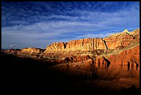 Layers of rock on  West face of Waterpocket Fold at sunset. Capitol Reef National Park, Utah, USA. (color)