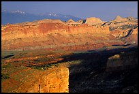 Waterpocket Fold from Sunset Point in storm light at sunset. Capitol Reef National Park, Utah, USA.