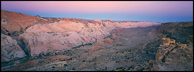 Waterpocket fold in pastel hues at dawn. Capitol Reef National Park (Panoramic color)