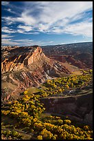 Waterpocket Fold  and orchards in the fall from Rim Overlook. Capitol Reef National Park ( color)