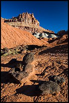 Balsalt Boulders and Wingate Sandstone crags of the Castle. Capitol Reef National Park, Utah, USA. (color)