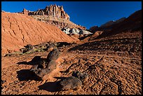 Balsalt Boulders, shale, Castle. Capitol Reef National Park, Utah, USA. (color)